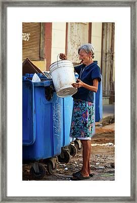 Framed Print featuring the photograph Cuban Woman With Cigar by Joan Carroll