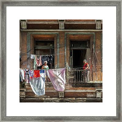 Framed Print featuring the photograph Cuban Women Hanging Laundry In Havana Cuba by Charles Harden