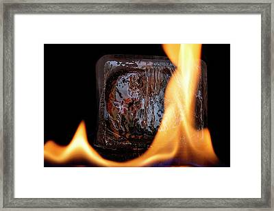 Framed Print featuring the photograph Cube On Fire by Rico Besserdich