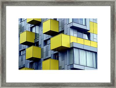 Cubed Yellow Framed Print by Jez C Self