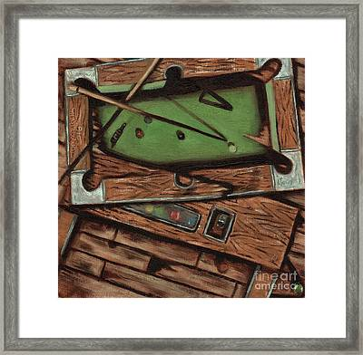 Framed Print featuring the painting Cubism Pool Table Billiard Art Print by Tommervik