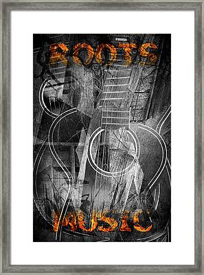 Cubist Guitar With Roots Music Framed Print