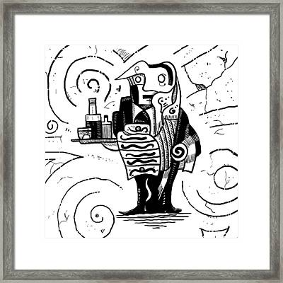 Cubist Waiter Framed Print by Sotuland Art