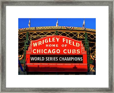 Cubs Win World Series Framed Print by Andrew Soundarajan