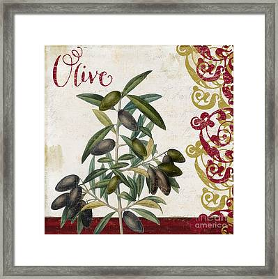 Cucina Italiana Olives Framed Print by Mindy Sommers