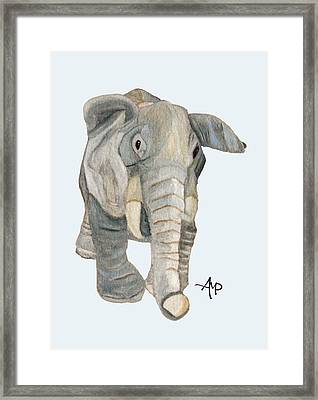Cuddly Elephant Watercolor Framed Print by Angeles M Pomata