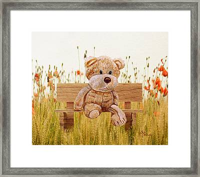 Cuddly In The Garden Framed Print