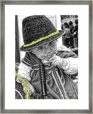 Framed Print featuring the photograph Cuenca Kids 888 by Al Bourassa