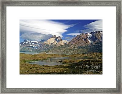 Cuernos Del Pain And Almirante Nieto In Patagonia Framed Print