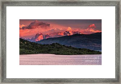 Framed Print featuring the photograph Cuernos On Fire by Stuart Gordon