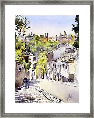 Cuesta Chapiz Granada Framed Print by Margaret Merry