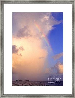 Culebra Rain Cloud And Rainbow Framed Print