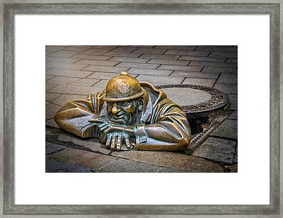 Cumil The Peeper Man At Work In Bratislava  Framed Print