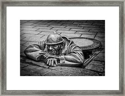 Cumil The Peeper Man At Work In Bratislava In Black And White Framed Print