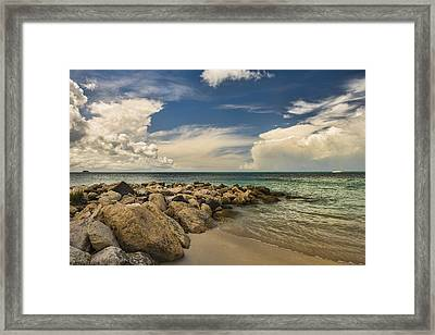 Cumulus Clouds Over Dickenson Bay  St Framed Print