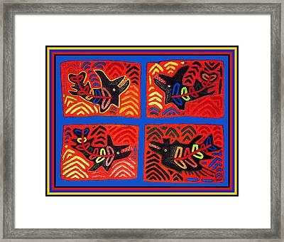Cuna Indian Tribal Sharks Framed Print by Vagabond Folk Art - Virginia Vivier