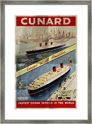 Cunard - Europe To All America - Vintage Poster Folded Framed Print