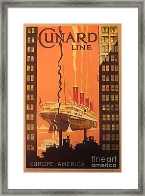 Cunard Ocean Liner Poster Framed Print