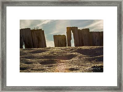 Cunnigar Beach Wooden Barrier Framed Print