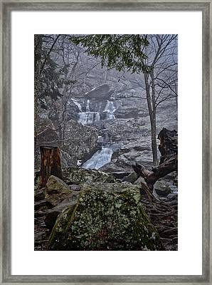 Framed Print featuring the photograph Cunningham Falls In The Rain And Fog by Mark Dodd