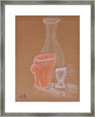Cup And Bottle Still Framed Print by MaryBeth Minton