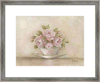 Cup And Saucer  Pink Roses Framed Print by Chris Hobel