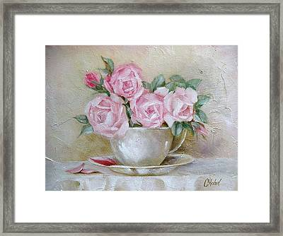 Cup And Saucer Roses Framed Print