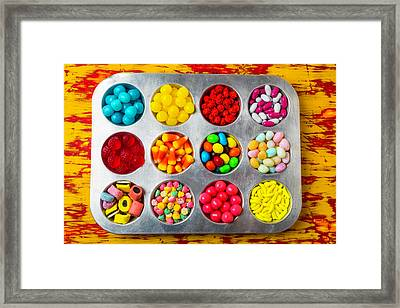 Cup Cake Tray Full Of Candy Framed Print
