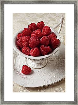 Cup Full Of Raspberries  Framed Print by Garry Gay