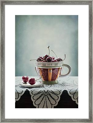 Cup Of Cherries Framed Print