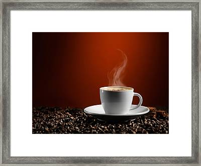 Cup Of Coffe Latte On Coffee Beans Framed Print by Oleksiy Maksymenko