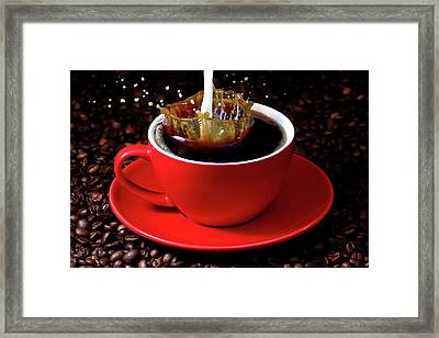 Cup Of Coffee With Splash Framed Print by Pics For Merch