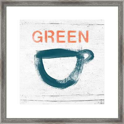 Cup Of Green Tea- Art By Linda Woods Framed Print by Linda Woods