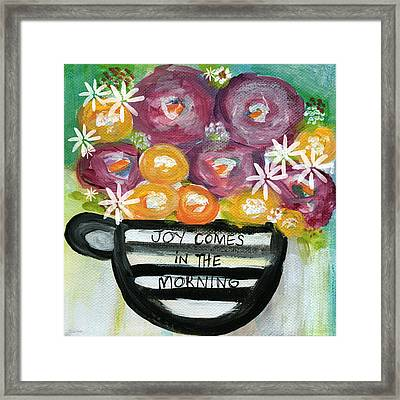 Cup Of Joy 2- Contemporary Floral Painting Framed Print by Linda Woods