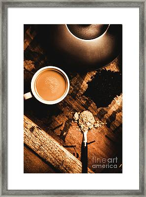 Cup Of Tea With Ingredients And Kettle On Wooden Table Framed Print