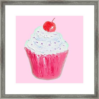 Cupcake Painting On Pink Background Framed Print by Jan Matson