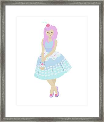 Cupcake Princess Framed Print by Mollie Draws