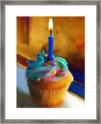 Cupcake With Candle Framed Print