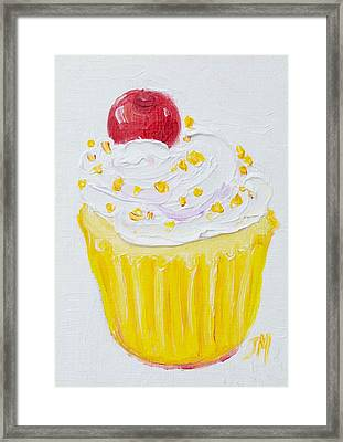 Cupcake With Vanilla Frosting And Cherry Painting Framed Print by Jan Matson