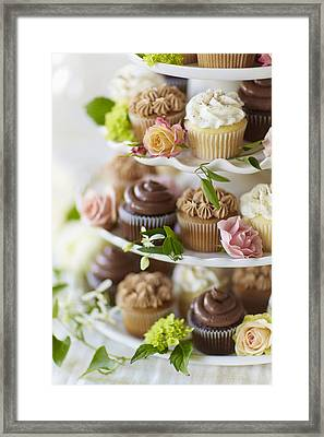 Cupcakes And Flowers On Tiered Stand Framed Print