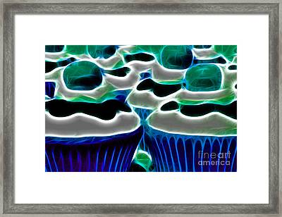 Cupcakes - Electric - Blue Framed Print by Wingsdomain Art and Photography
