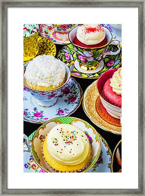Cupcakes In Tea Cups Framed Print by Garry Gay