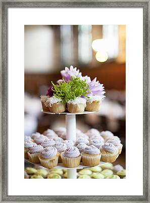 Cupcakes On Stand Framed Print