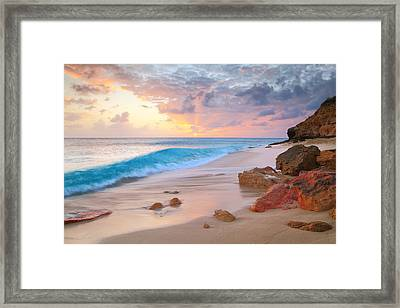 Cupecoy Beach Sunset Saint Maarten Framed Print