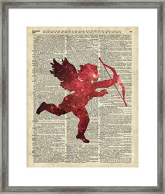 Cupid Amor Space And Stars Digital Collage Dictionary Art Framed Print