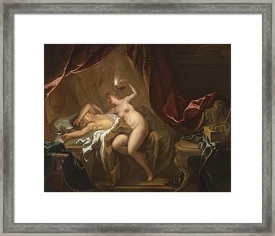 Cupid And Psyche Framed Print by Jean-Francois Detroy