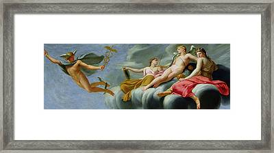 Cupid Orders Mercury To Announce The Power Of Love To The Universe Framed Print by Eustache Le Sueur