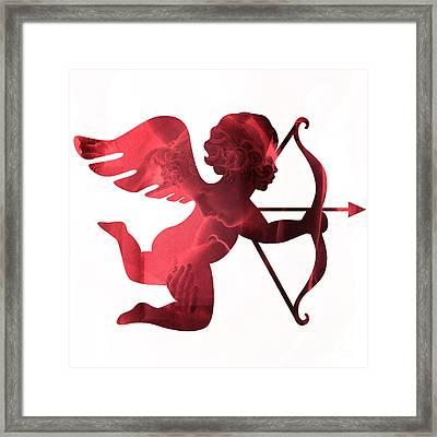 Cupid Psyche Valentine Art - Eros Psyche Valentine Cupid With Arrow Print - Red Valentine Art  Framed Print