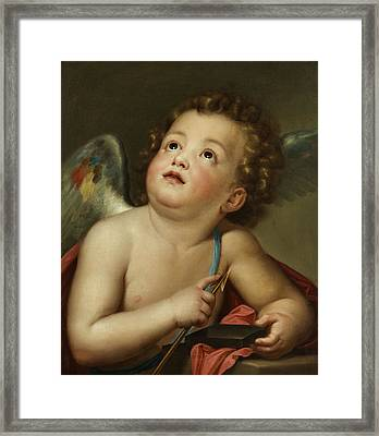 Cupid Sharpening His Arrow Framed Print