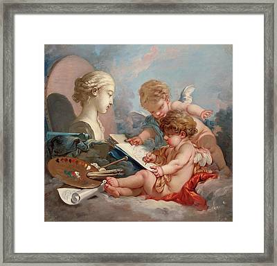 Cupids, Allegory Of Painting Framed Print by Francois Boucher